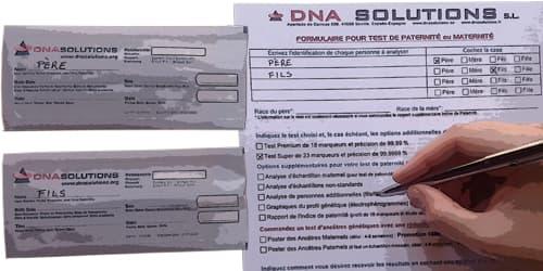 Formulaire pour le test ADN de paternité