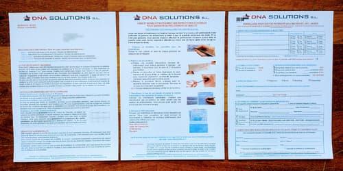 Formulaires du kit pour le test ADN
