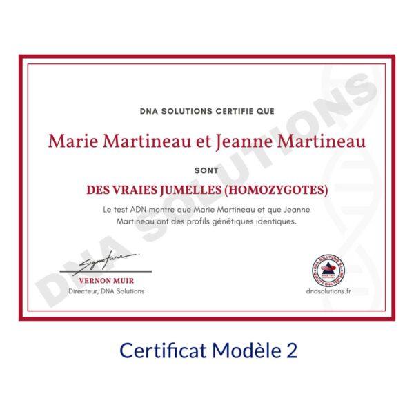 Produit Certificat Jumeaux Modèle 2