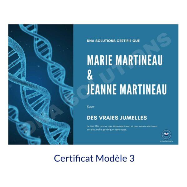 Produit Certificat Jumeaux Modèle 3